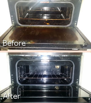 Before and After Cleaning of the Oven